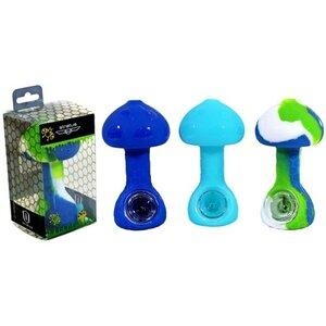 SILICONE MUSHROOM PIPE WITH GLASS BOWL